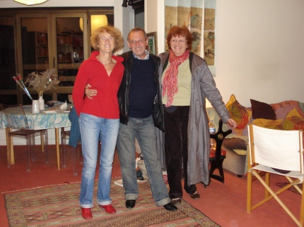 Sylvie, Serge and Jocelyne, animated friends (and singers) at Sylvie's apartment